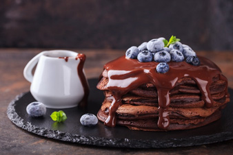 Tortitas o gofres con chocolate